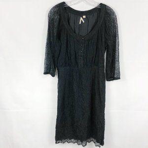 Anthropologie Maeve | Black Lace Mid Sleeve Dress
